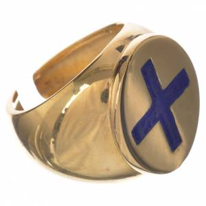 Bishop's ring in gold-plated sterling silver, cross in blue enamel s2
