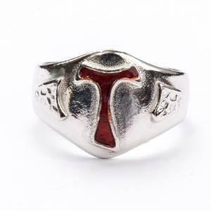 Bishop's Ring in silver 800, Enamel Tau s3