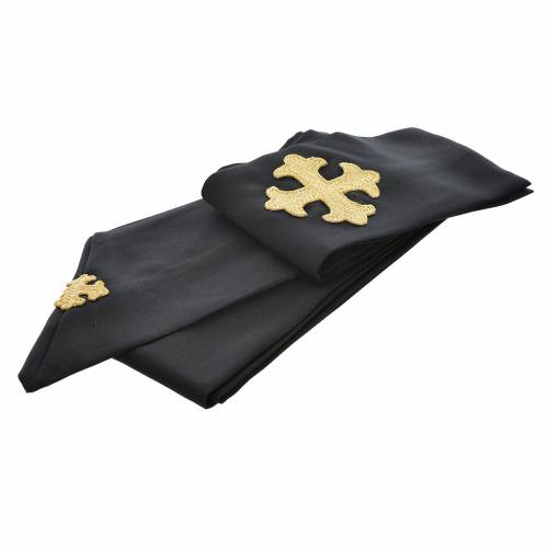 Black chasuble 100% polyester, stylised cross s3