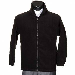 Black pile jacket with zip and pockets s1