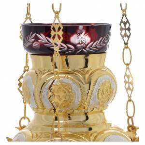 Sanctuary lamps and candles: Blessed Sacrament Orthodox lamp  in golden brass 14x12cm