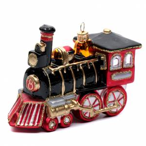 Blown glass ornaments: Blown glass Christmas ornament, locomotive