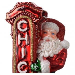 Blown glass ornaments: Blown glass Christmas ornament, Santa Claus in Chicago