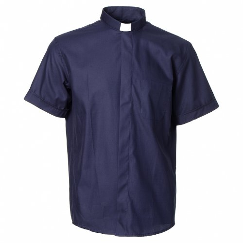 Blue short sleeves clergy shirt, cotton and polyester s1