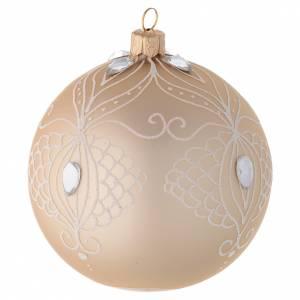 Bola árbol de Navidad de vidrio soplado oro y decoración blanca 100 mm s2