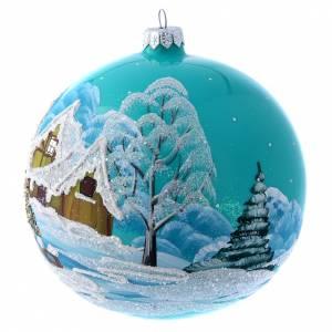 Bola de Navidad 150 mm celeste paisaje nevado s2