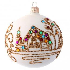 Bolas de Navidad: Bola de Navidad blanco opaco con decoración dorada 100 mm