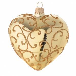 Bola de Navidad corazón de vidrio con decoración arabesca 100 mm s2