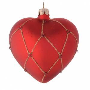 Bola de Navidad corazón de vidrio rojo con piedras y decoración oro 100 mm s2