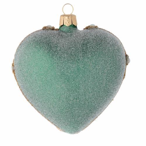 Bola de Navidad corazón de vidrio soplado verde y decoraciones oro 100 mm s2
