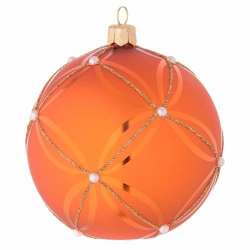 Bola de Navidad de vidrio soplado naranja decoraciones oro 100 mm s2