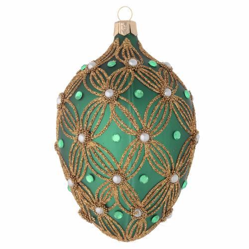 Bola de Navidad oval de vidrio soplado verde y oro 130 mm s2