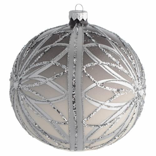 Bola de Navidad plateada con glitters 150 mm s2