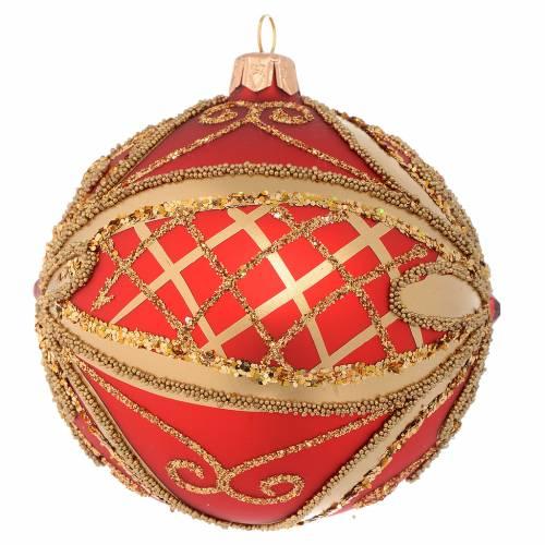 Bola de Navidad roja y oro glitters 100 mm s2