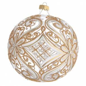 Bola de Navidad transparente decoraciones doradas y blancas 150 mm s2