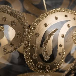 Bolas de Navidad: Bola de Navidad transparente oro gotas 8 cm.