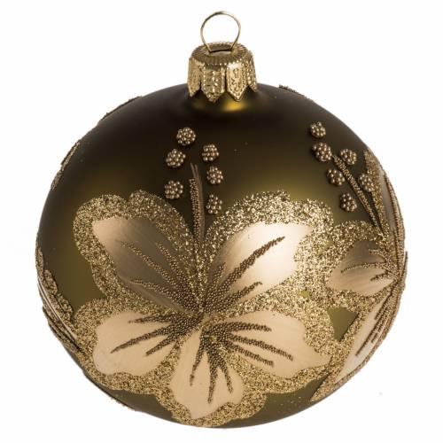 Bola de Navidad vidrio dorada con flores de 8cm s1