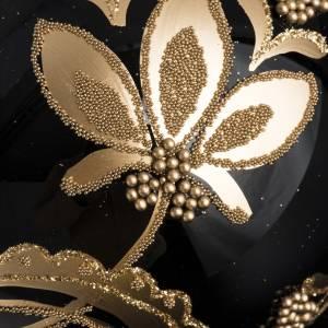 Bola de Navidad vidrio negro con decoración dorado 10cm s3