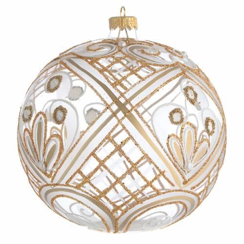 Bola de Navidad vidrio soplado transparente dorada 150 mm s2