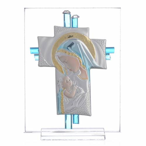 Bomboniera Nascita Croce vetro Murano acquamarina h. 10,5 cm s1