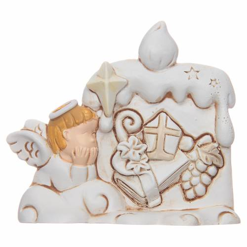 Bomboniera Cresima candela angelo resina s1