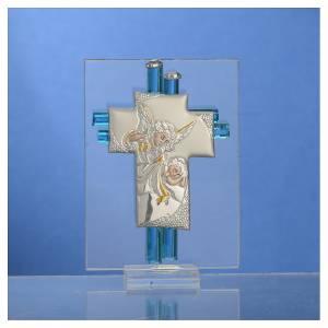 Bonbonnière Baptême Ange verre Murano aigue-marine h 8 cm s2