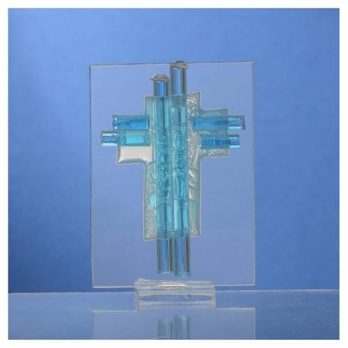 Bonbonnière Baptême Ange verre Murano aigue-marine h 8 cm s4