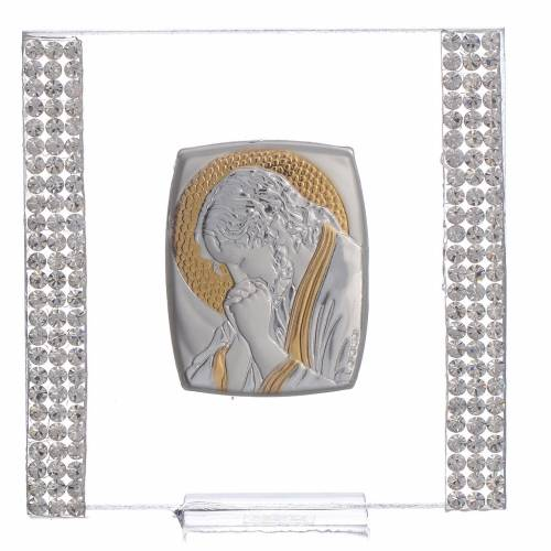 Bonbonnière Cadre Christ Argent et strass 7x7 cm s1