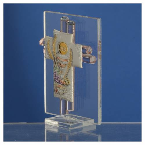 Bonbonnière Communion croix verre Murano rose arg h 8 cm s3