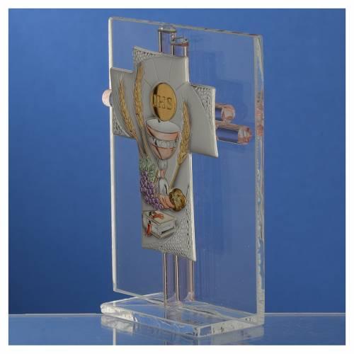 Bonbonniere Communion Cross pink Murano glass 10,5cm s3