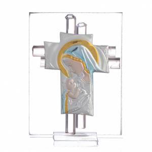 Bonbonnières: Bonbonnière Maternité croix verre Murano rose arg h 8 cm