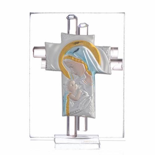 Bonbonnière Maternité croix verre Murano rose arg h 8 cm s1