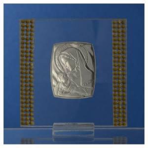Bonbonnière Naissance Argent et strass 7x7 cm s4