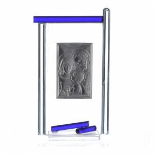 Bonbonnière Ste Famille arg. verre Murano bleu 13x8 cm s2