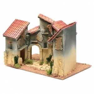 Ambientazioni, botteghe, case, pozzi: Borgo case e arco 25x30x20 cm per presepe