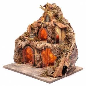 Borgo con capanne e mulino 40x40x30 cm s2