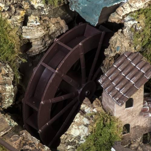 Borgo illuminato presepe con capanna, cascate, mulino s7
