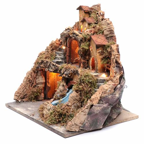 Borgo presepe capanna e cascata 40x40x30 cm s2