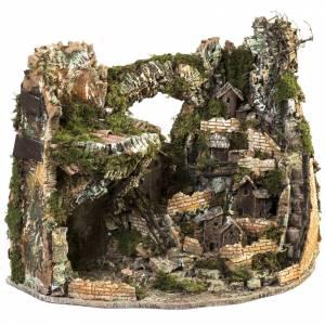 Capanne Presepe e Grotte: Borgo presepe illuminato con capanna 58x50x38 cm