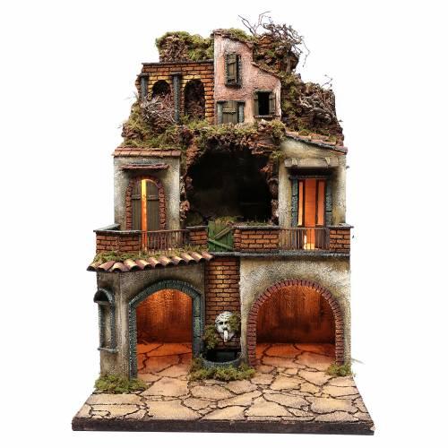 Borgo presepe napoletano 80x50x50 cm con grotta s1