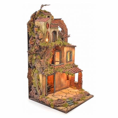 Borgo presepe napoletano stile 700 torre forno luce 65x45x37 s2