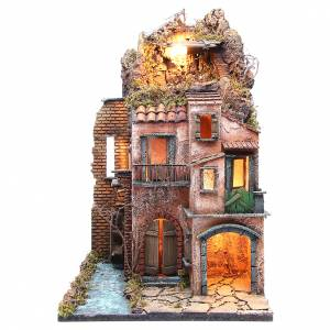 Borgo presepe Napoli illuminato 38x80x38 s1