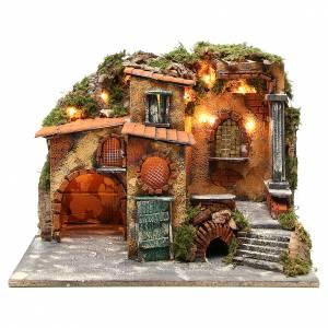 Borgo rustico presepe illuminato con capanna 36x51x35 cm s1