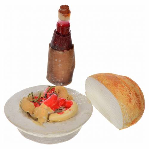 Botella, pan y plato 3pz pesebre Nápoles 2 cm s1