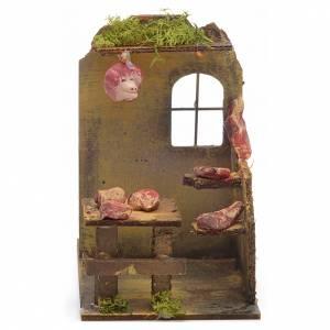Ambientazioni, botteghe, case, pozzi: Bottega del macellaio presepe 14x9x16 cm