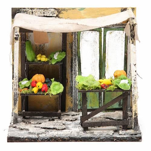 Bottega fruttivendolo in cera presepe  18x20x14 cm s1