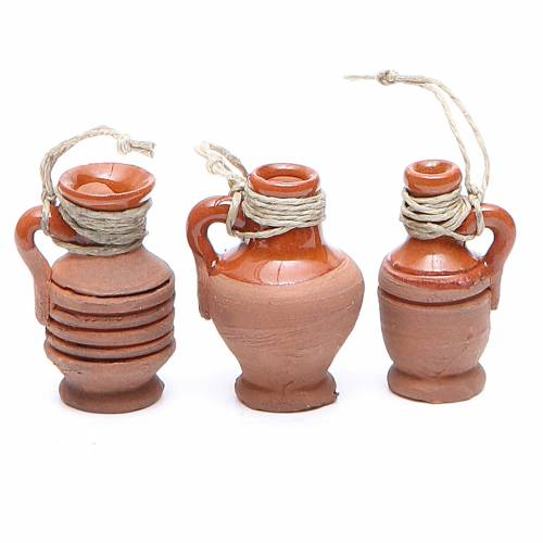 Bottles in terracotta for DIY nativities, 3cm assorted models s3