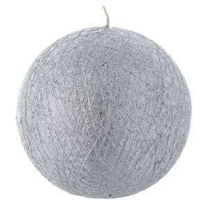 Bougie de Noël Comet sphère 12,5 cm argentée s1