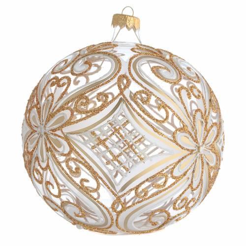 Boule de Noël décor or et blanc transparente 150 mm s2