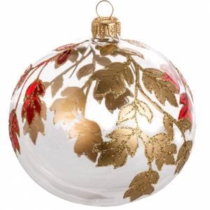 Boule de Noel décorée feuilles dorée 10 cm s1
